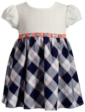 Youngland Baby Girl Black & White Plaid & Crochet Lace Dress