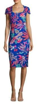 Theia Floral-Print Sheath Dress