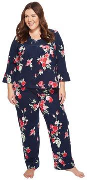 Carole Hochman Plus Size Soft Jersey Floral Pajama Women's Pajama Sets