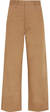 Bassike Cropped Cotton-blend Wide-leg Pants - Camel