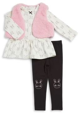 Little Me Baby Girl's Three-Piece Top, Fleece Vest and Leggings Set
