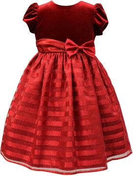 Sorbet Velvet & Shadow-Stripe Dress, Size 2-6X