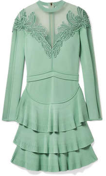 Elie Saab Appliquéd Tulle-paneled Stretch-knit Mini Dress - Mint