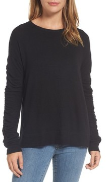 Caslon Petite Women's Ruched Sleeve Pullover