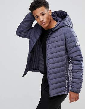 ONLY & SONS Quilted Jacket With Full Zip Hood In Melange Nylon