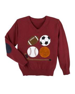 Andy & Evan Embroidered Sports Knit Sweater, Size 2-7