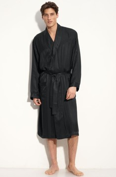 Majestic International Men's Herringbone Stripe Silk Robe