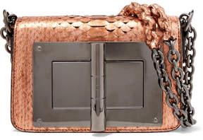 Tom Ford Natalia Small Metallic Python Shoulder Bag - Bronze