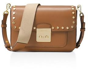 MICHAEL Michael Kors Sloan Editor Studded Large Leather Shoulder Bag - ACORN BROWN/GOLD - STYLE