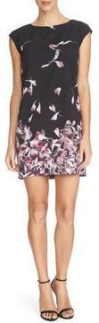 Cynthia Steffe Cap-Sleeve Floral-Print Mini Dress, Rich Black