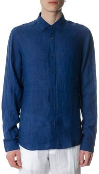 MICHAEL Michael Kors Blue Linen Slim Fit Shirt