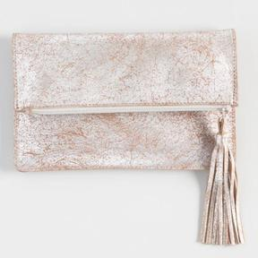 World Market Champagne Leather Pouch