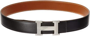 Hermes Silver-Tone Black Leather Reversible Constance Belt (Size 75)