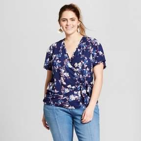 Xhilaration Women's Plus Size Floral Print Short Sleeve V-Neck Knit Top Navy