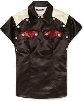 Calvin Klein Color-block Satin Shirt - Black