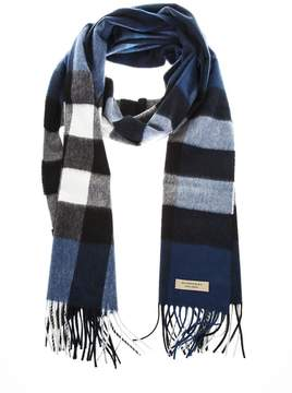 Burberry Blue Classic Fringed Scarf In Cashmere