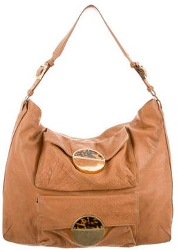 Tory Burch Textured Leather Hobo - BROWN - STYLE