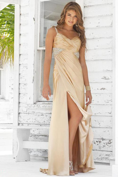 Blush Lingerie Sleeveless Pleated Long Gown with Slit 9326