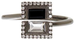 Bony Levy 18K White Gold Diamond, Black Onyx, & White Topaz Ring - 0.12 ctw
