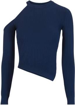 Cushnie et Ochs Cold Shoulder Asymmetrical Navy Sweater
