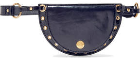 See by Chloe Kriss Eyelet-embellished Patent Textured-leather Belt Bag - Midnight blue