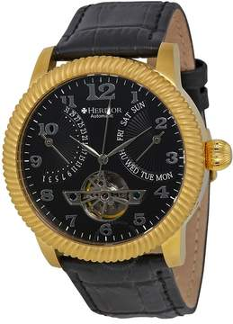 Heritor Piccard Automatic Black Dial Black Leather Men's Watch