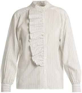Masscob Striped asymmetric-ruffled silk top