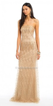 Camille La Vie Beaded Mesh Strapless Evening Dress