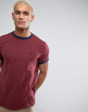 Jack Wills Baildon Ringer T-Shirt In Damson