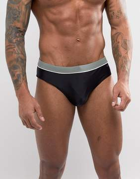 Esprit Swim Brief In Black With Contrast Wasitband