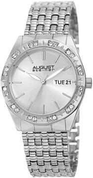August Steiner Womens Silver Tone Strap Watch-As-8177ss