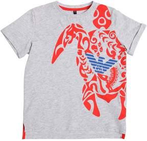 Armani Junior Turtle Printed Cotton Jersey T-Shirt