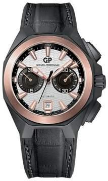 Girard Perregaux Chrono Hawk Silver Dial Black Leather Men's Watch