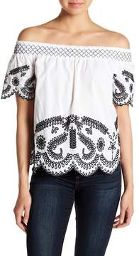 Design History Embroidered Short Sleeve Blouse