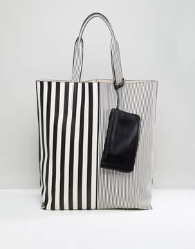 ASOS Oversized Mono Striped Shopper Bag