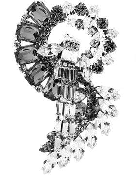 Alberta Ferretti bicolour rhinestone brooch
