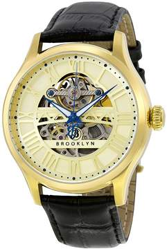 Co Brooklyn Watch Brooklyn Bridgewater Skeleton Men's Automatic Gold Tone Dial Men's Watch