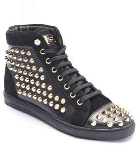 Philipp Plein Women's Gold Studded High Top Sneaker Shoes.