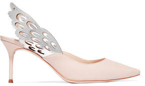 Sophia Webster Angelo Cutout Metallic-trimmed Leather Slingback Pumps - Pastel pink