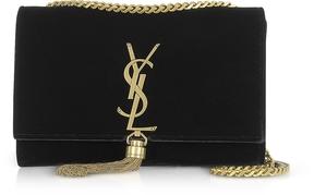 Saint Laurent Small Kate Black Velvet Shoulder Bag w/Tassel - BLACK - STYLE