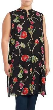 Context Plus Floral Button-Front Tunic
