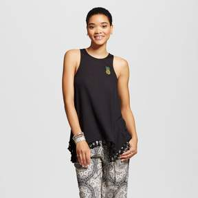 Fifth Sun Women's Embroidered Pineapple Graphic Tunic Black Juniors')