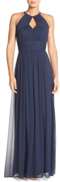 Dessy Collection Women's Ruched Chiffon Keyhole Halter Gown