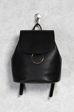 FOREVER 21 Faux Leather Top-Flap Backpack