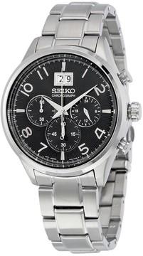 Seiko Chronograph Black Dial Stainless Steel Men's Watch