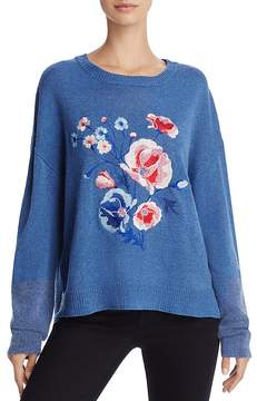 En Creme Embroidered-Floral Sweater
