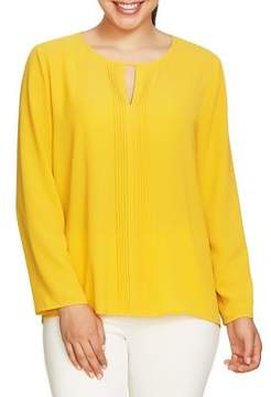 Chaus Hammered Crepe Pintuck Front Blouse