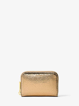 Michael Kors Miranda Crackled Metallic Leather Card Holder - GOLD - STYLE