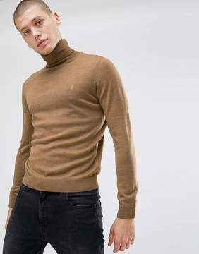 Farah Gosforth Slim Fit Merino Roll Neck in Camel