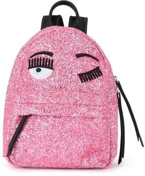 Chiara Ferragni Flirting Small Pink Glitter And Black Faux Leather Backpack